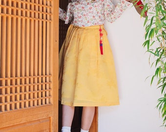 6ebee6874d Wrap skirt - Yellow (Midi)/Hanbok/ Korean dress/Korean skirt/ K-style/일반길이  노랑