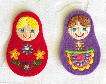 47e87f2c90e23 Matroska girl embroidered Patch - Iron On Patch - Embroidered Applique