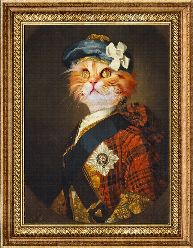 Custom Pet portrait,Renaissance pet portrait,custom pet painting,royal Pet Portrait,unique gifts,scottish gifts,pet art,cat art,main coon