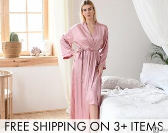820384e1259c6 Women's Satin Kimono Robe Rose Gold | Bridal Satin Robe Long