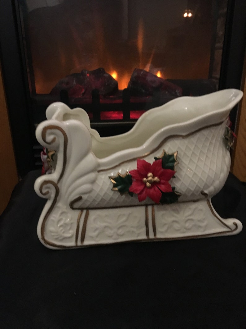Ivory With Gold Porcelain Sleigh Candy Dish