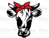 Cow SVG Cut File for Cricut, Silhouette Cameo - Bandana Cow Vinyl Cutting Home DIY Projects - Great for Farm Life Wood Sign Stencil Making