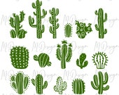 Green Cactus Clipart Bundle SVG Cutting File for Cricut,Silhouette Cameo - Cactus Clipart Outline for Customizing T Shirts, Mugs, Tumblers