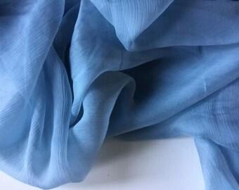 6940de3f127 New french 100% silk sky blue crinkle chiffon fabric 55