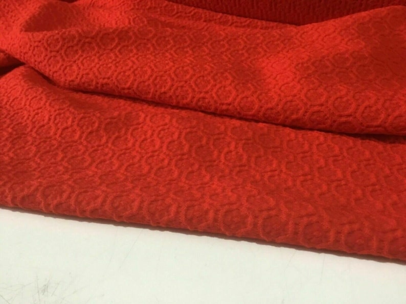 NEW High Class Designer Red Colour Jacquard Elastane Fabric 53\u2019\u2019 136 cm Material