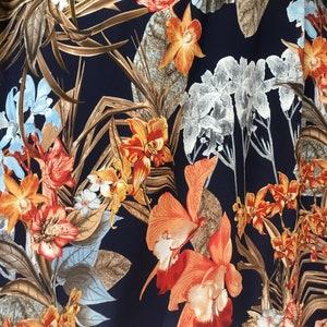 1m  floral orange  multi colour  print American crepe floral fabric 45
