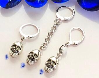 e23ac3782 Skull earring, Skull dangle, Goth earring, Skull goth dangle, Silver skull, Men  earrings, Gothic earring, Men skeleton earring, For men