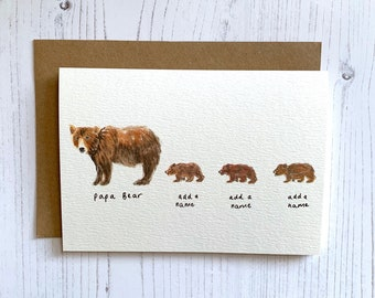e36ea0949 Personalised Papa Bear Card / Mama Bear Card | Three Cubs