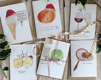 PRE ORDER Festive food fun Christmas card set