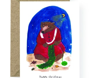PRE ORDER Knitting Bear Card