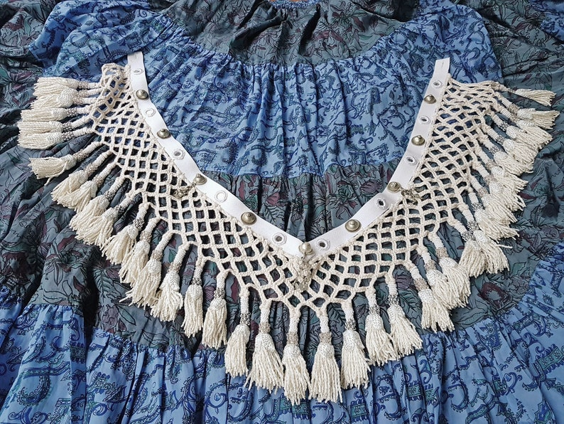 Cream Saye Gosha Segusha with Turkoman Buttons and Shisha Mirrors ATS FCBDstyle Tribal Fusion Belly Dance Accessory