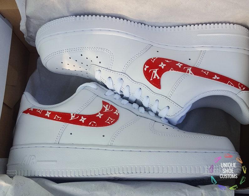fa6556fb4609 Nike Air Force 1-Louis Vuitton Red Custom