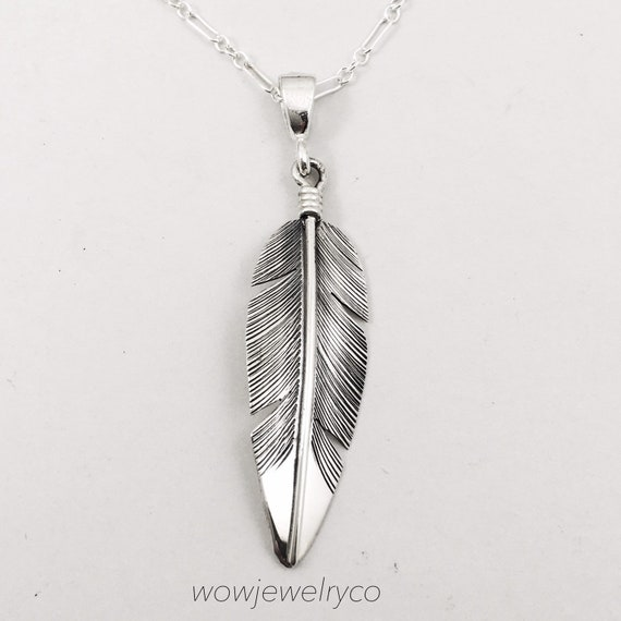Handmade Sterling Silver Navajo Feather 18\u201d Necklace Signed LENA PLATERO
