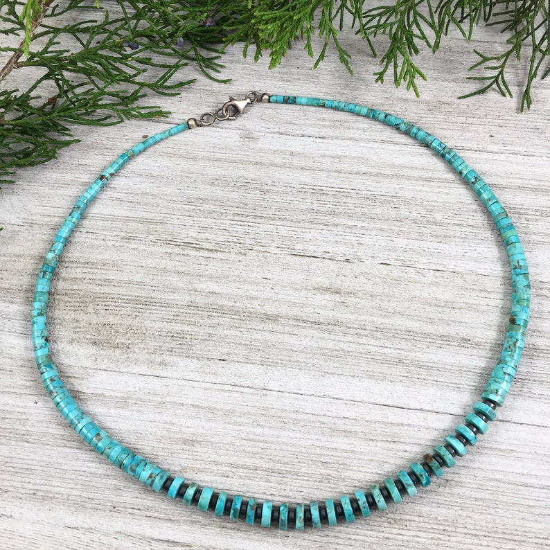 men\u2019s choker Real Turquoise bead necklace Southwest women\u2019s necklace boho style jewelry Kingman turquoise Father/'s Day gift for DAD