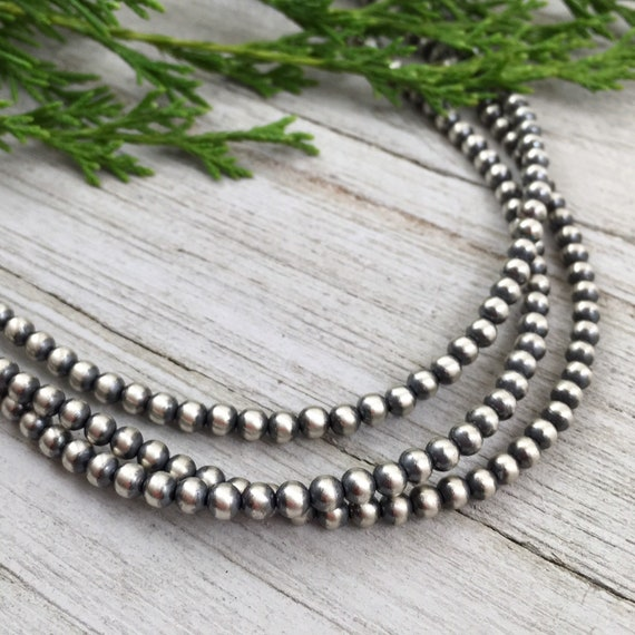 """22/"""" Navajo Pearls Sterling Silver 4mm Beads Necklace"""