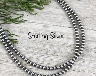 4mm Sterling Silver Southwest Bead Necklace western boho Desert Pearl #100