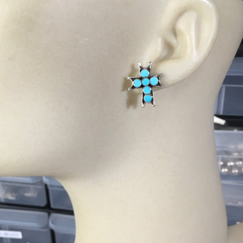 Turquoise Cross Earrings Sterling Silver VINCENT ABEITA Inlay turquoise  dishta style  southwest jewelry