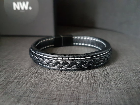 Mens Black Braided Leather Bracelet Genuine Leather Bangle with Magnetic Clasp