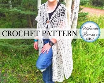 Ruana Shawl Wrap Crochet Pattern, Light Mesh Rectangle Shawl, Warm Woodland Ruana Wrap, Hippie Boho Ruana - Easy Printable PDFs Pattern