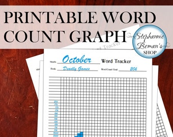 Monthly Writing Tracker - Word Count Graph for Writers - Build Your Own Planner - PDFs