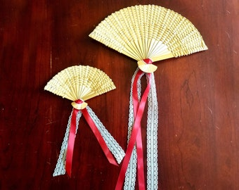 Decorative Fan Set, Small & Large Vintage Fan Wall Art with or without Ribbon and Lace, Home Decor, Craft Supply