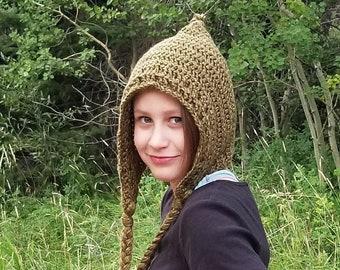 Black or Olive Green or Black Crochet Knit Hat, Warm & Soft Pixie Elf Hood, Medieval Inspired Winter Hood