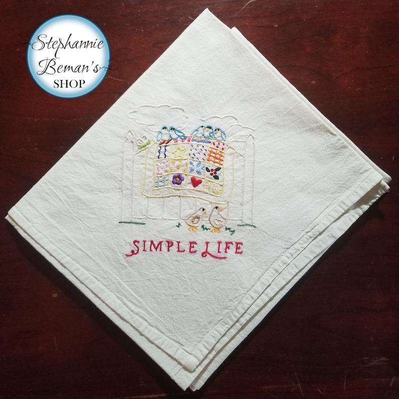 32 x 36 Tea Towel  Hand Embroidered Cotton Dish image 0