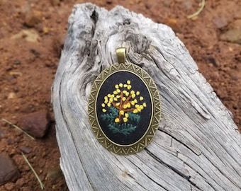Hand Embroidered Yellow Acacia Flower Bouquet on Black Linen Antique Bronze Pendant & Chain, Embroidered Edwardian Victorian Style Necklace