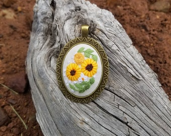 Hand Embroidered Sunflowers on Cream Linen Necklace, Embroidered Edwardian Victorian Style Necklace in Antique Bronze Pendant & Chain