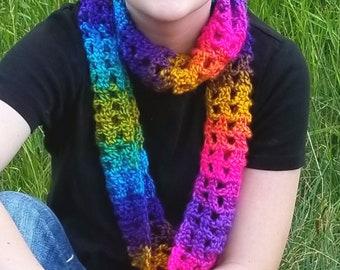 Rainbow Infinity Scarf, Soft Crochet Knit Loop Circle Scarf
