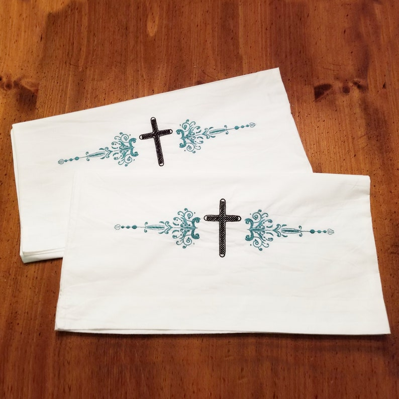 Standard Pillowcase Set  2 Hand Embroidered Pillowcase with image 0