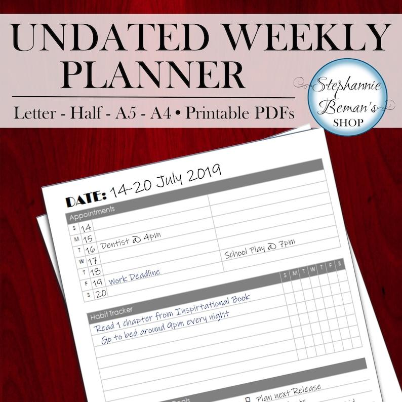 Undated Weekly Planner  Printable Weekly Planner  Dateless image 0