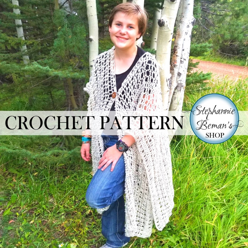 Printable Crochet Ruana Shawl Pattern  Warm Light Mesh Wrap image 0