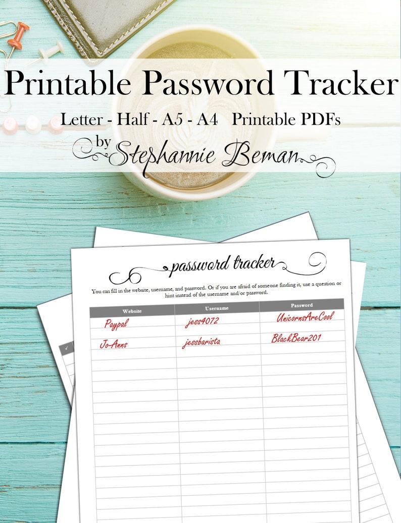 Printable Password Tracker PDF image 0