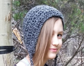 Gray & Black Crochet Knit Hat, Edwardian Style Winter Bonnet, Soft Beanie with Ear Covers and Ties, Victorian Style Fall Cap Ear Warmer