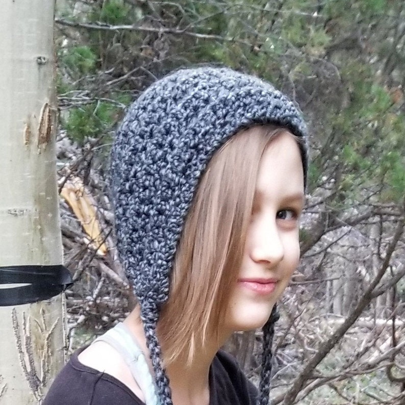 Beanie Hat for Child and Teen in Edwardian Gray & Black  image 0