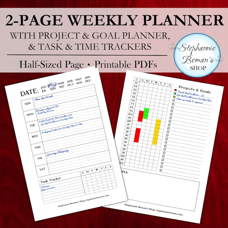 Undated Weekly Planner with 24 Hour Time Tracker Projects & image 0