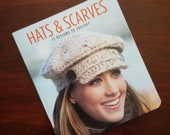 12 Crochet Patterns for Hats and Scarves, Hats for Adults and Kids, Small Paperback Crochet Pattern Book