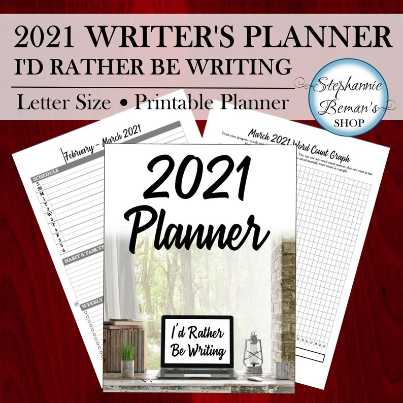 2021 Writing Planner I'd Rather Be Writing  Printable image 0