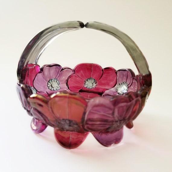 Pink Retro Glass Bowl w Floral Pattern JewelryTrinket Catchall Dish