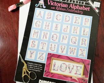Victorian Alphabet Cross Stitch & Ribbon Embroidery Pattern Booklet