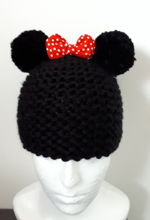 6de8edcec53 Minnie Mouse style hand knitted hat