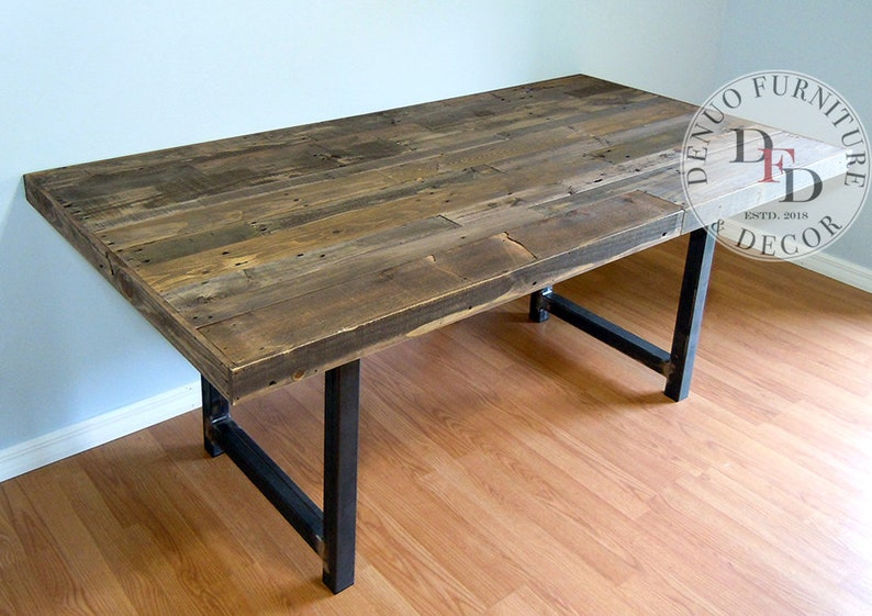 Merveilleux Modern Farmhouse Table, Reclaimed Pallet Dining Table, Conference Table,  Communal Table, Office Table, Metal Legs, Reclaimed Pallet Wood