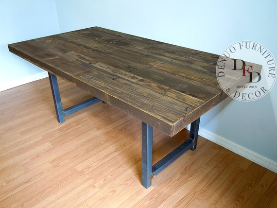 Reclaimed Wood Dining Table, Dining Table, Reclaimed Pallet Dining Table,  Conference Table, Office Table, Metal Legs, Communal Table, Office