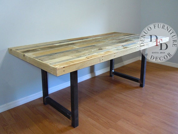 Reclaimed Wood Dining Table, Dining Table, Reclaimed Pallet Dining Table,  Conference, Office, Communal, Metal Legs, Reclaimed Pallet Wood