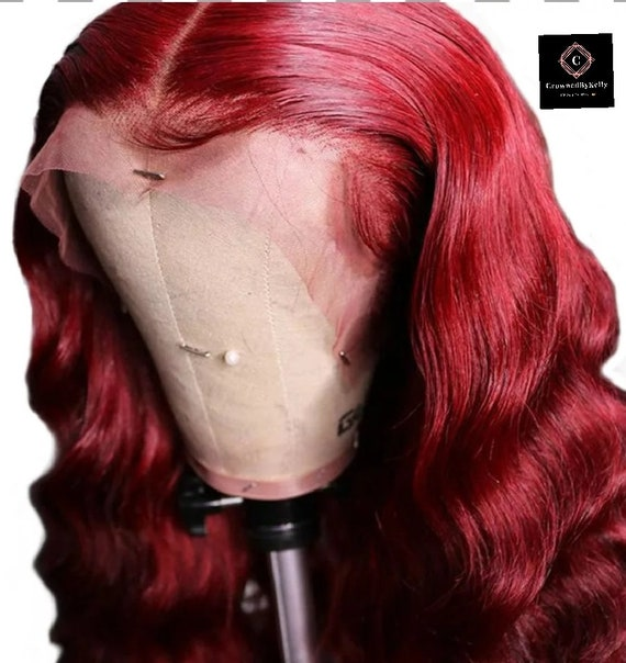 Red 360 lace from human hair wig 130 density