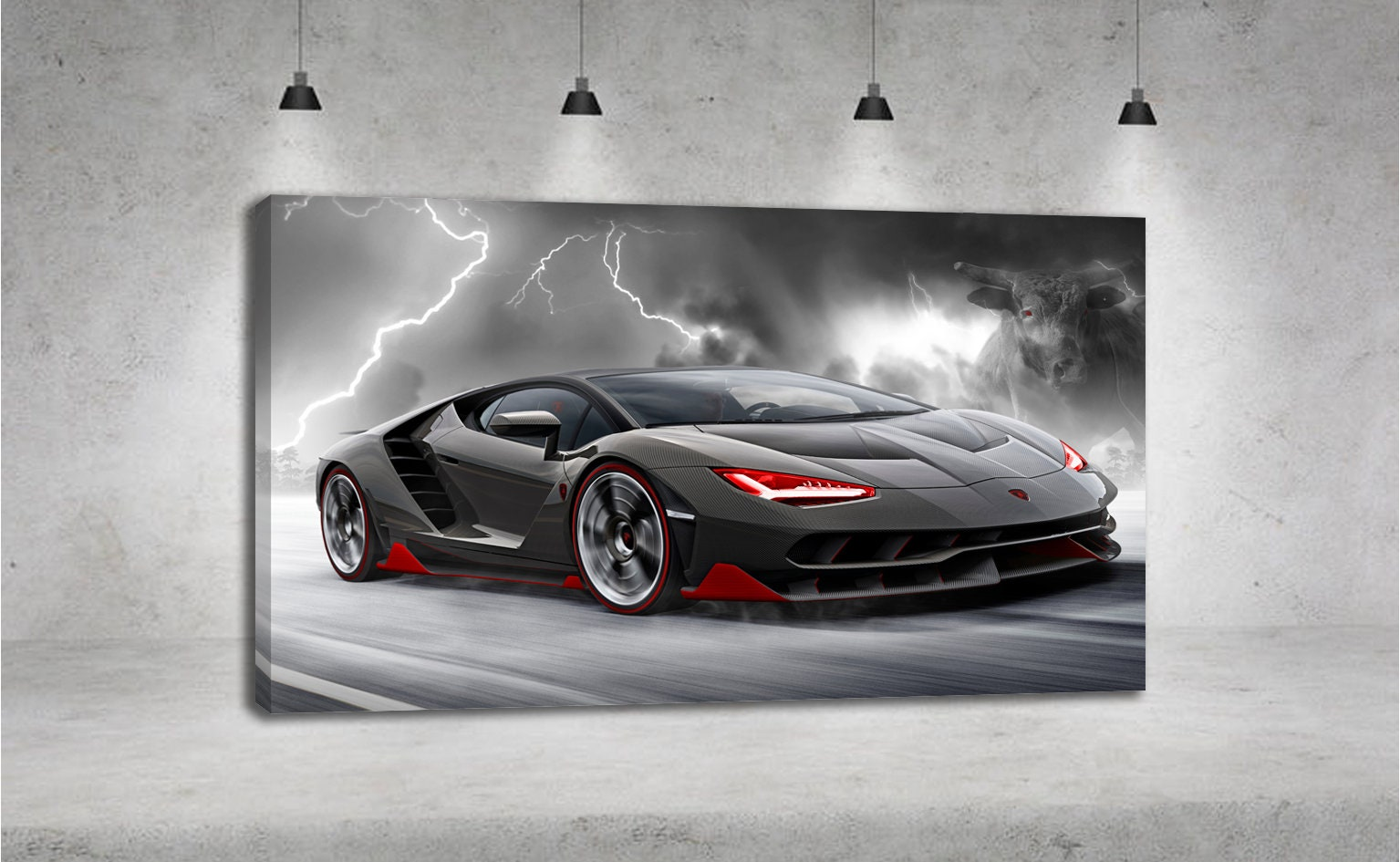 Lamborghini Centenario Storm Lightning Bull Car Yellow Car Etsy
