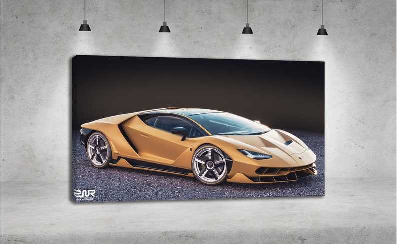 Lamborghini Centenario Side View Gold Car Yellow Car Canvas Etsy