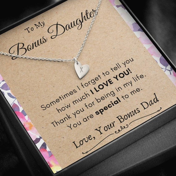 Bonus Daughter Gift Necklace, Gift from Bonus Dad, Daughter In Law Gift, Stepdaughter Gift, Adopted Daughter Gift, Gift from Stepfather