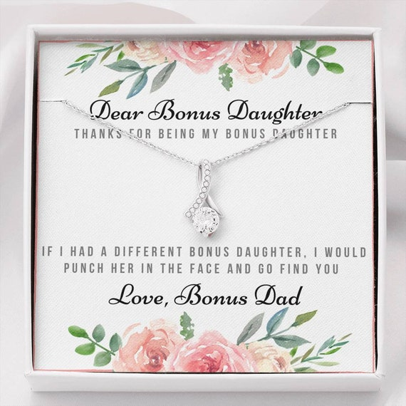 Bonus Daughter Gift Necklace, Thanks for Being My Bonus Daughter, Gift from Bonus Dad, Birthday Gift, Christmas Gift